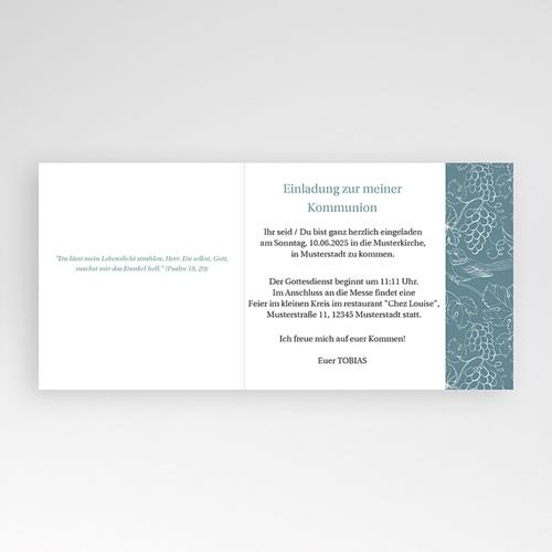 Einladungskarten Kommunion fur Jungen Blauer vögel, Weinstock, 12 x 10 pas cher