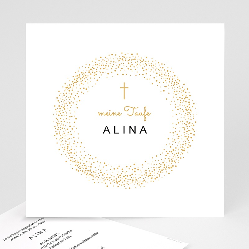 Einladungskarten Taufe für Mädchen Medaillon, Goldenes Kreuz, 14,5 x 15 cm