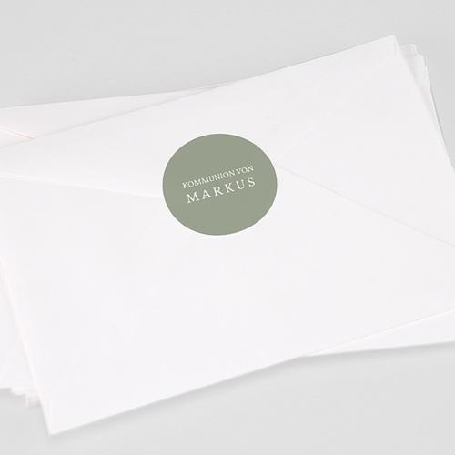 Aufkleber Kommunion Olivengrün, 4,5 cm