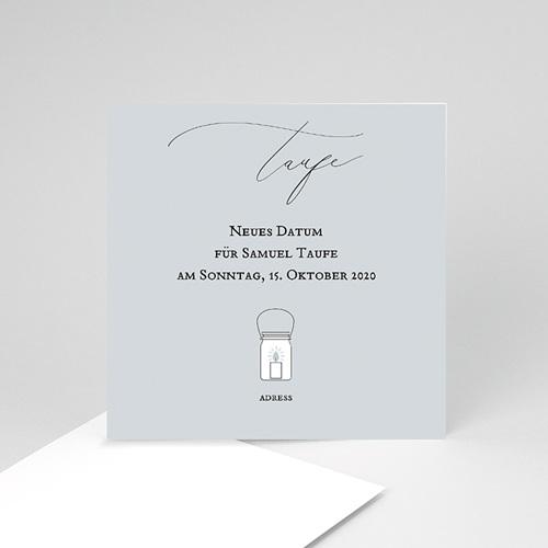 Aufgeschobene Taufekarten Pulverblau, neues Datum, 10 x 10