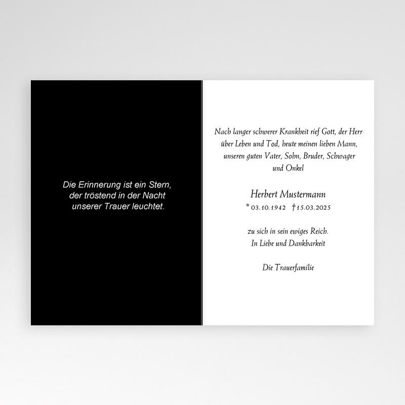 Weltlich Dankeskarten Trauer Lichtblick - schwarz / weiß pas cher