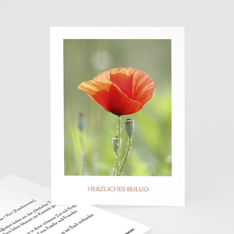 Kondolenzkarten Herzliches Beileid Mohnblume