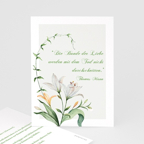 Kondolenzkarten Trauerlilien, 10 cm x 14 cm