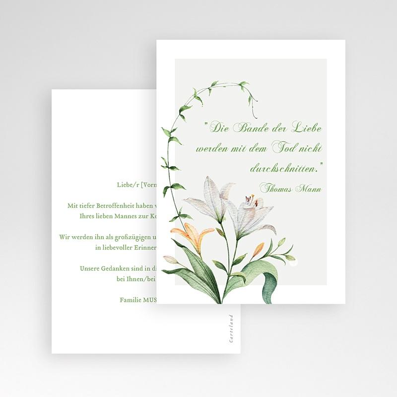 Kondolenzkarten Trauerlilien, 10 cm x 14 cm pas cher