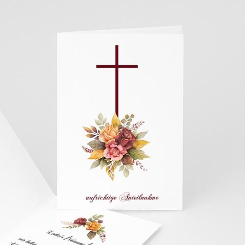 Kondolenzkarten Blumenkreuz, herzliches Beileid