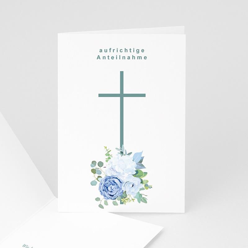 Kondolenzkarten Kreuz und Hortensien, Anteilnahme