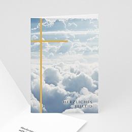 Kondolenzkarten - Schlichtes Kreuz, Beileid, 10,5 x 15 cm - 0