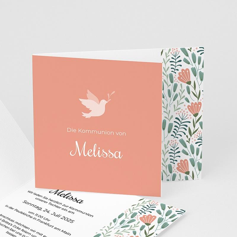 Einladungskarten Kommunion fur Mädchen Taube und Blumen, Rosa, 12 x 10 cm