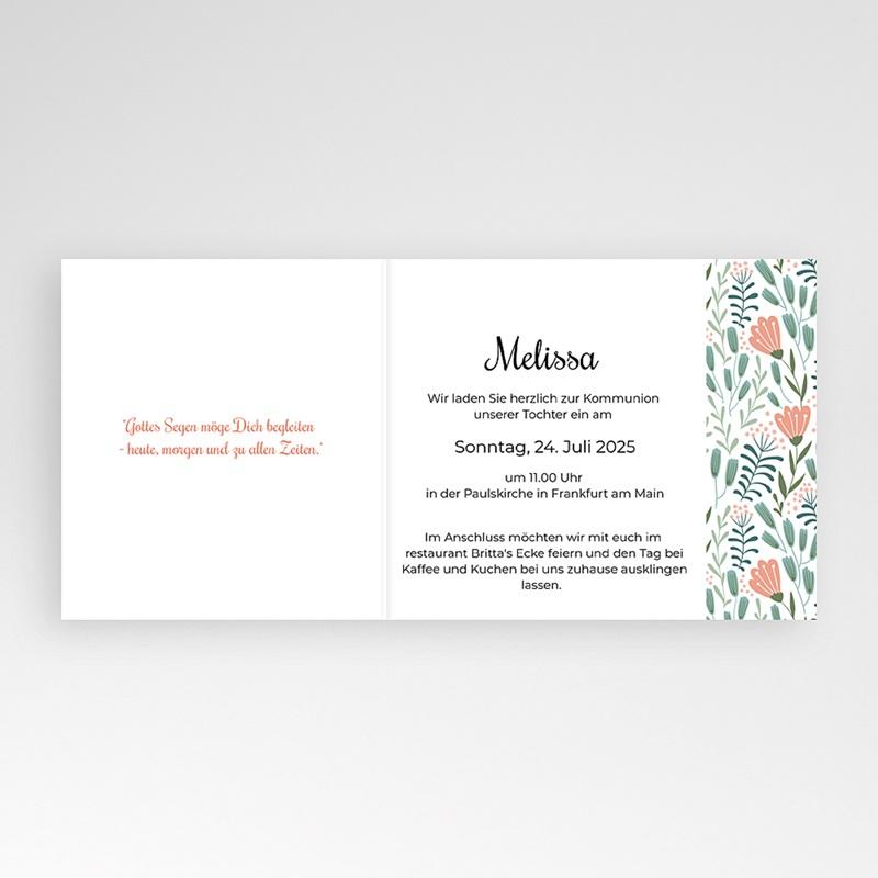 Einladungskarten Kommunion fur Mädchen Taube und Blumen, Rosa, 12 x 10 cm pas cher