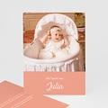 Dankeskarten Taufe fur Mädchen Taube, rosa Band, 1 Foto