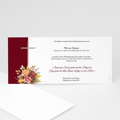 Einladung Trauerfeier Sterbeanzeige, Blumenband und Kreuz