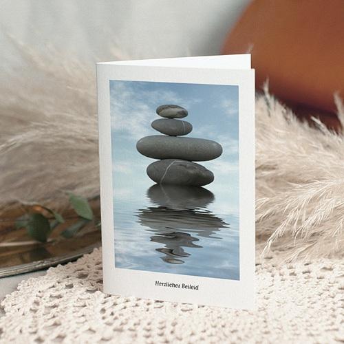 Kondolenzkarten Zen, gestapelte Kieselsteine, 10,5 x 15