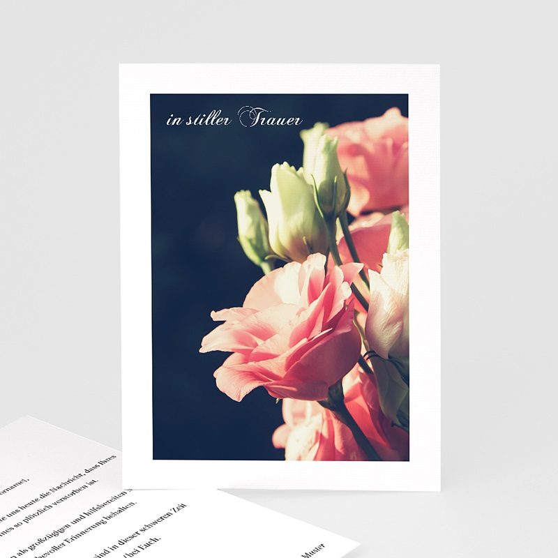 Kondolenzkarten Rosenstrauß, 10 cm x 14 cm
