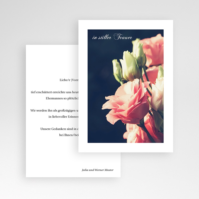 Kondolenzkarten Rosenstrauß, 10 cm x 14 cm pas cher
