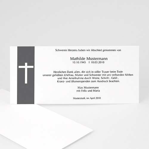 Trauer Danksagung christlich - Schlichtes Kreuz 1 8566