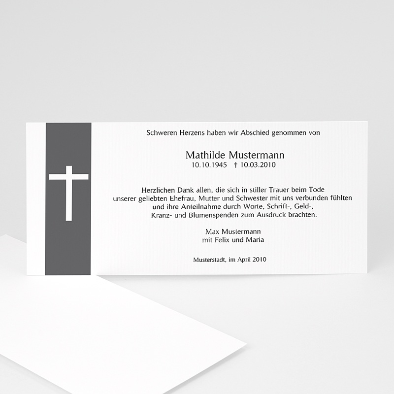 Trauer Danksagung christlich - Kreuzzeichen 8566 thumb