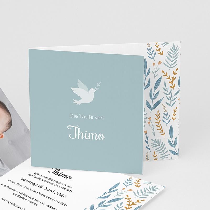 Zivil Einladungskarten Taufe Taube, Blumenband, blau