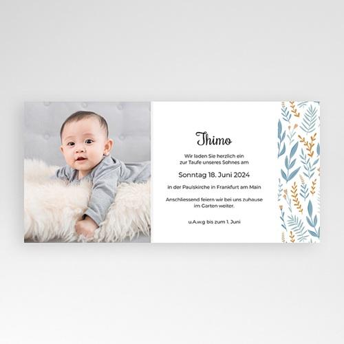 Zivil Einladungskarten Taufe Taube, Blumenband, blau pas cher