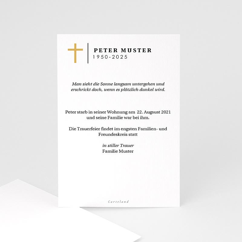 Einladung Trauerfeier Goldenes Kreuz, Porträt, 10 x 15