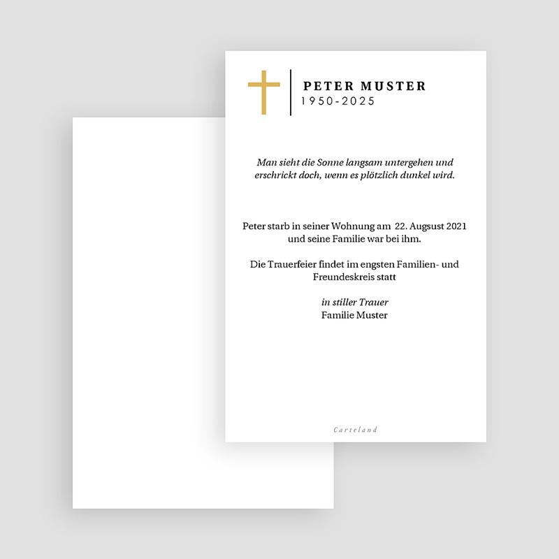 Einladung Trauerfeier Goldenes Kreuz, Porträt, 10 x 15 gratuit