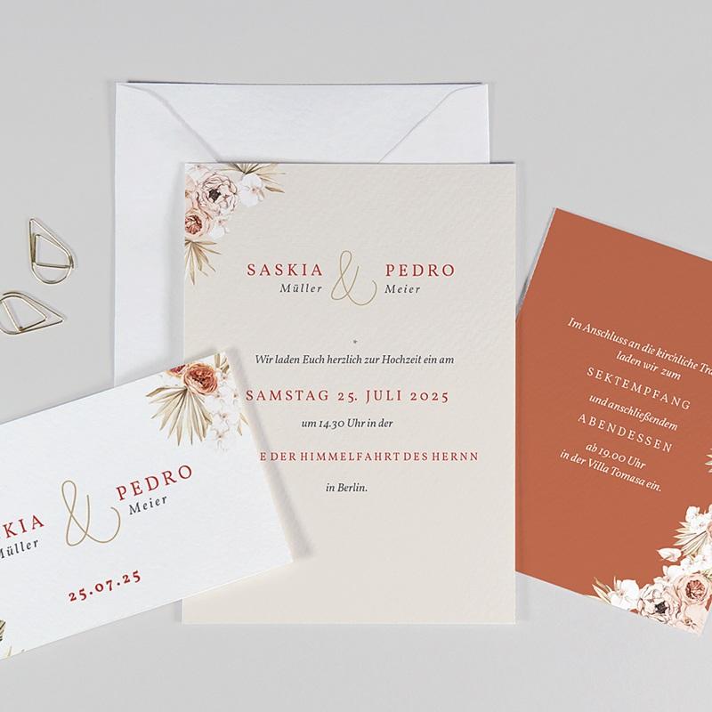 Elegante Hochzeitseinladungen Trockenblüten, goldfarben, 3 Karten