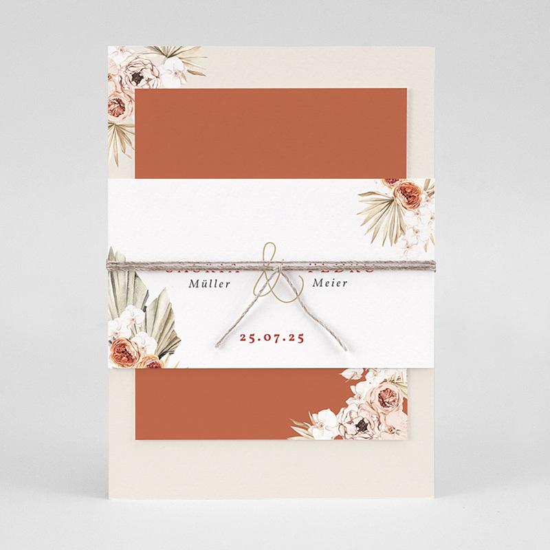 Elegante Hochzeitseinladungen Trockenblüten, goldfarben, 3 Karten pas cher