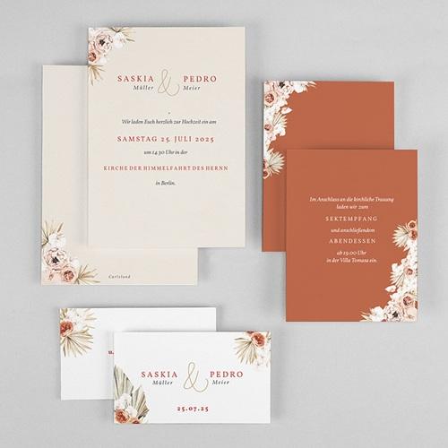 Elegante Hochzeitseinladungen Trockenblüten, goldfarben, 3 Karten gratuit