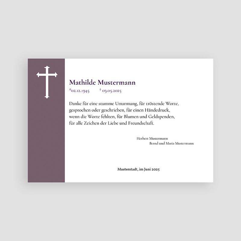 Christlich Dankeskarten Trauer In Veilchen blau pas cher
