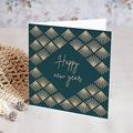 Geschäftliche Weihnachtskarten Goldenes Art-Deco-Design, doppelquadratisch, 14 cm x 14 cm