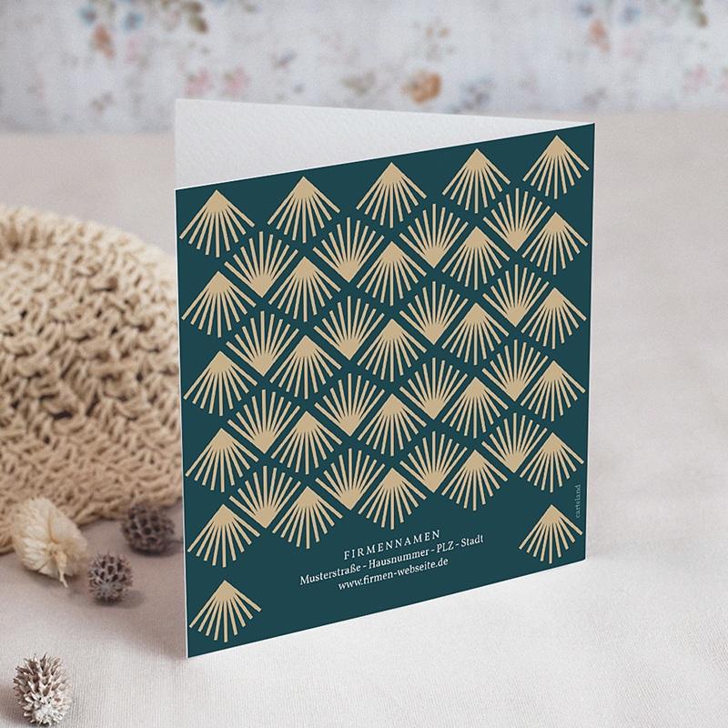 Geschäftliche Weihnachtskarten Goldenes Art-Deco-Design, doppelquadratisch, 14 cm x 14 cm gratuit