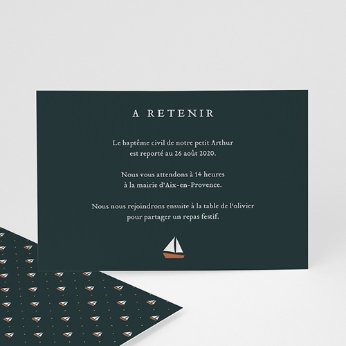 Aufgeschobene Taufekarten Kleines Boot, neues Datum, 14x10