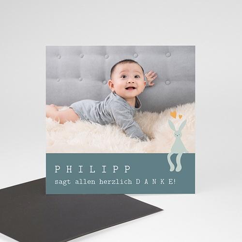 Dankeskarten Geburt Magnet Kleines blaues Kuscheltier, 9 x 9 cm
