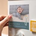 Dankeskarten Geburt Magnet Kleines blaues Kuscheltier, 9 x 9 cm pas cher