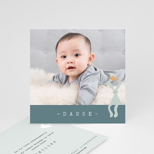 Dankeskarten Geburt für Jungen Danke, Blauer Hase, 10 x 10 cm