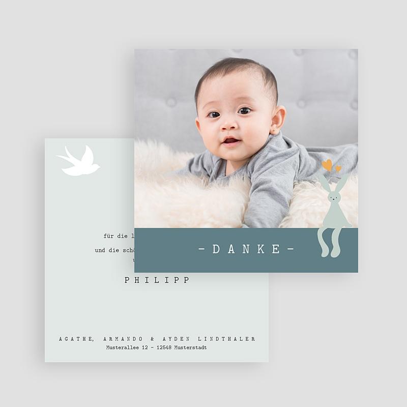 Dankeskarten Geburt für Jungen Danke, Blauer Hase, 10 x 10 cm gratuit