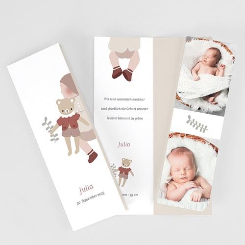 Geburtskarten Glücksbär, Granat