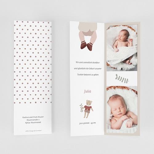 Geburtskarten für Mädchen Glücksbär, Granat gratuit