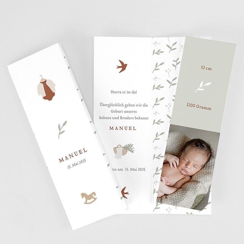 Geburtskarten für Jungen Glücksvogel, sanftes Grün