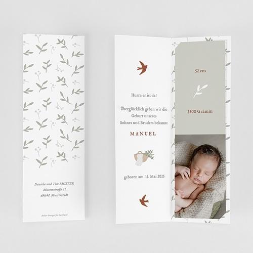 Geburtskarten für Jungen Glücksvogel, sanftes Grün gratuit