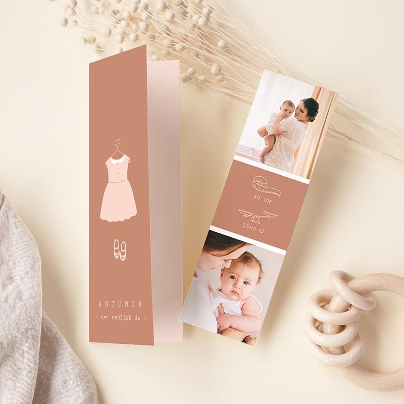 Geburtskarten Rosa Kleid, Fotos, Lesezeichen