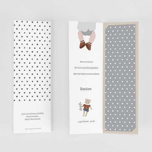 Geburtskarten Glücksbärchen, braun gratuit