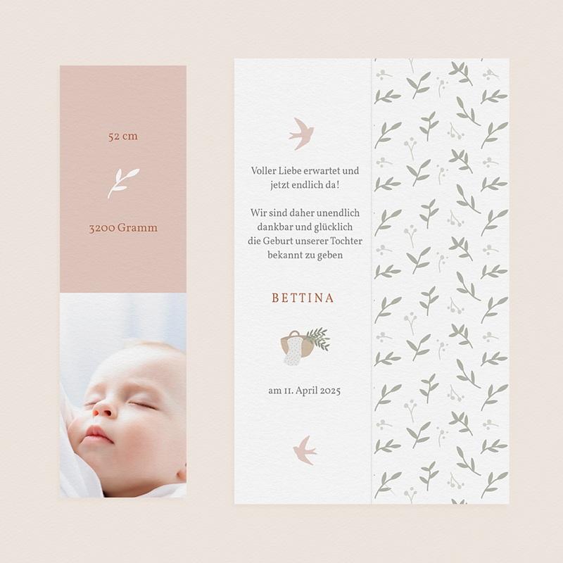 Geburtskarten für Mädchen Ein Hauch von Glück, zartes Rosa gratuit
