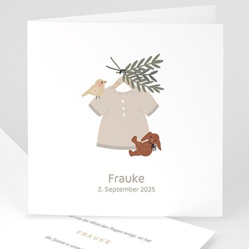 Geburtskarten für Mädchen Mädchenbluse, mit Vogel und Kuschel