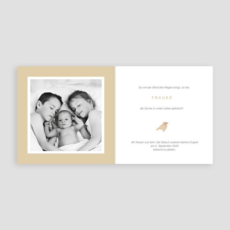 Geburtskarten für Mädchen Mädchenbluse, mit Vogel und Kuschel pas cher