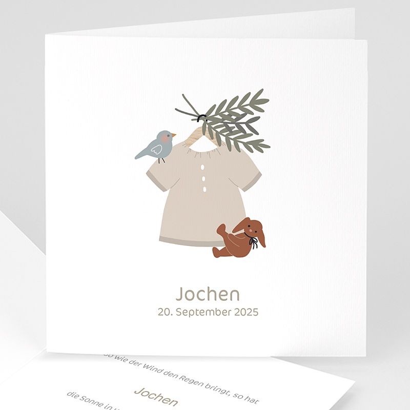 Geburtskarten für Jungen Knabenbluse, kleines Küken