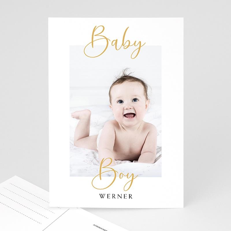 Geburtskarten für Jungen Postkarte, Baby Boy, Gold