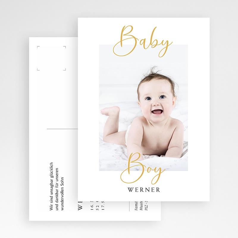 Geburtskarten für Jungen Postkarte, Baby Boy, Gold gratuit