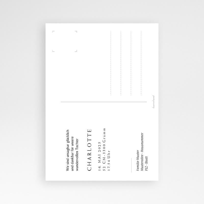 Geburtskarten für Mädchen Postkarte, Baby Mädchen, Gold pas cher