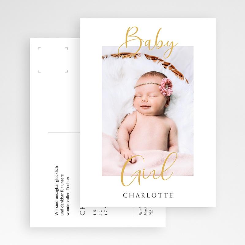 Geburtskarten für Mädchen Postkarte, Baby Mädchen, Gold gratuit