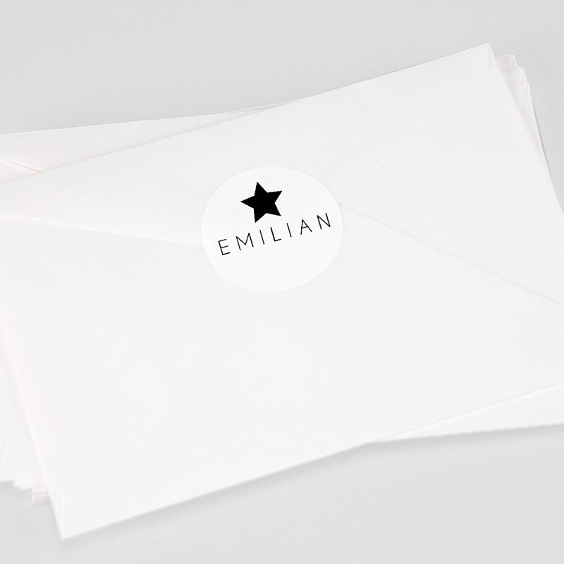 Aufkleber Geburt Schwarzer Stern, 4, 5 cm